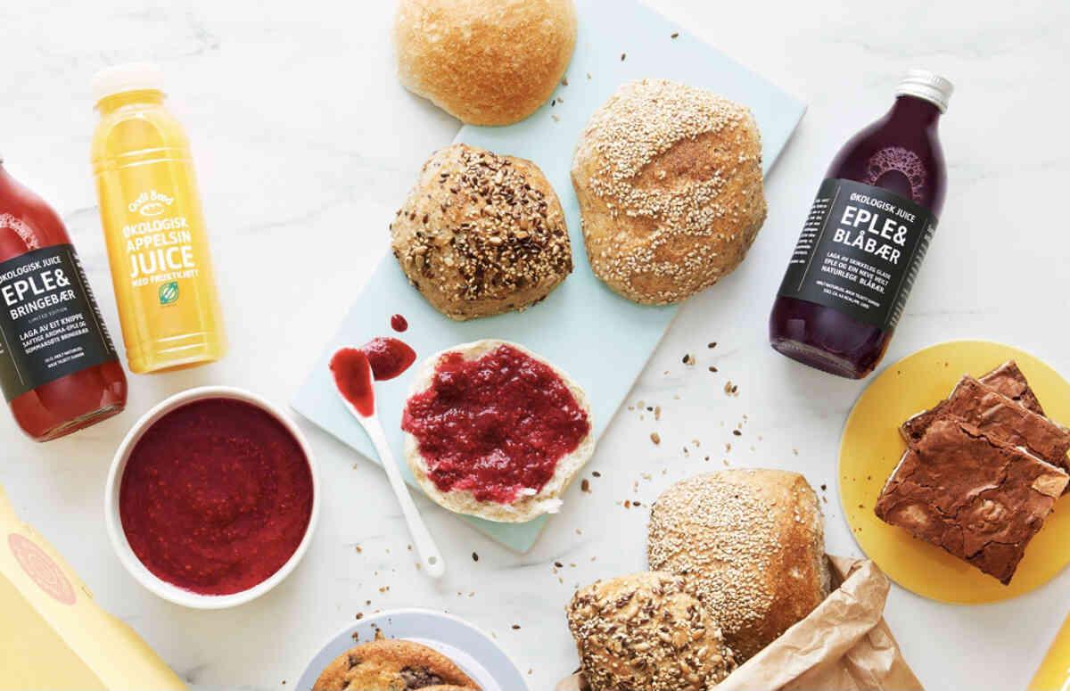 FROKOSTPAKKE: Fra Godt Brød kan du bestille bakst og juice. Foto: Morgenlevering/Natalja Twelve